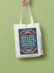 Frida Kahlo Mountain Quote Illustration Tote Bag