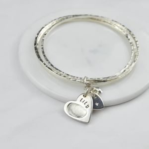 Fingerprint Charm Bangles - gifts for mothers