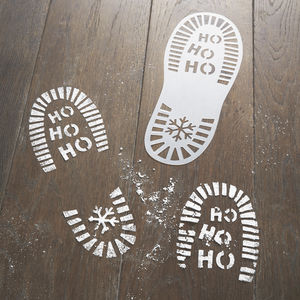Christmas Eve Festive Santa Foot Print Stencils - christmas home