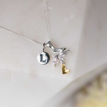Personalised Leaping Rabbit With Heart Pendant