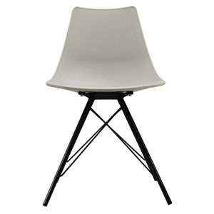 Light Grey Oslo Chair With Black Metal Legs