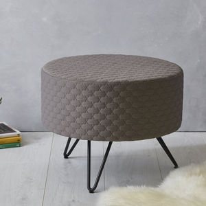 Grey Round Mid Century Footstool With Metal Legs