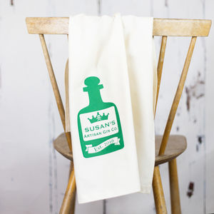 Personalised Tea Towel Gin Bottle - kitchen linen