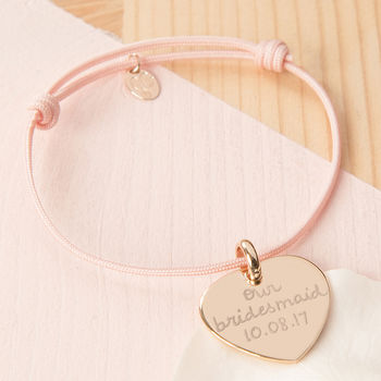 Bridesmaid Or Flower Girl Personalised Charm Bracelet with Dusty Pink Braid