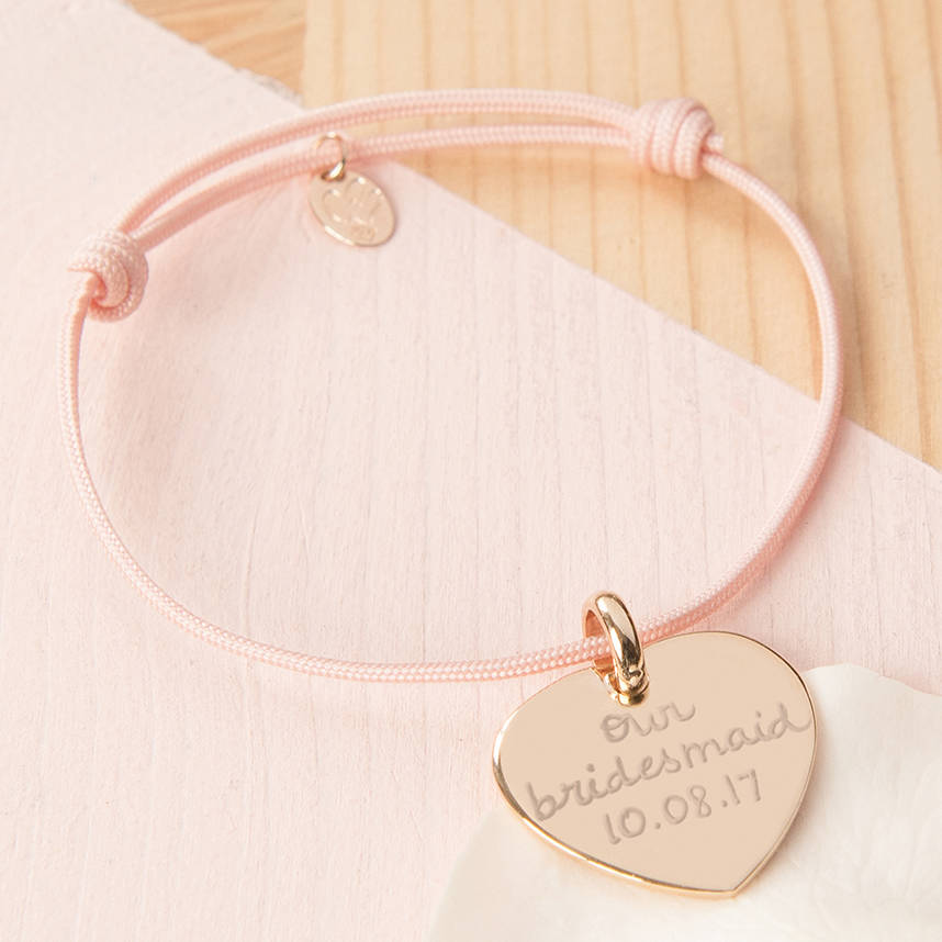 Bridesmaid Or Flower Personalised Charm Bracelet With Dusty Pink Braid