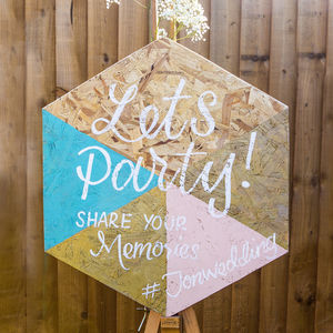 Geometric Hashtag Wedding Sign - room decorations