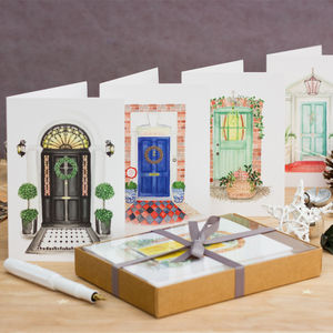 Festive Front Door Christmas Cards Pack Of 10 - cards & wrap