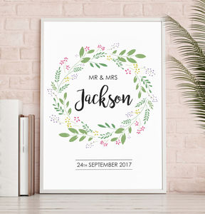Personalised Wedding Name Print