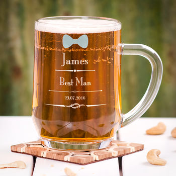Personalised Bow Tie Wedding Tankard