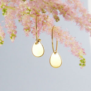 Small Gold Hoop Earrings With Teardrops