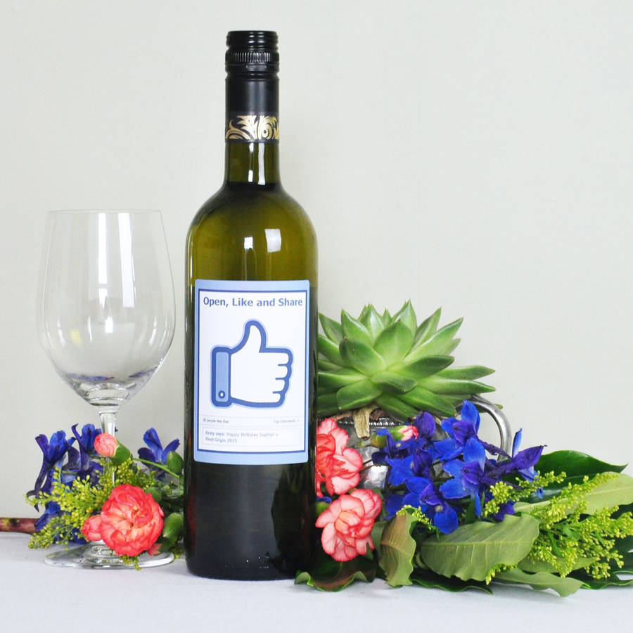 Personalised Wine Gift u0027Open Like And Shareu0027