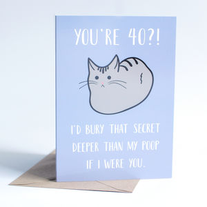 Funny 40th Cat Birthday Card