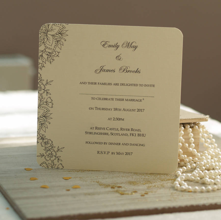 sample of wedding invitations templates%0A  u    Vintage Lace u     Wedding Invitations   u
