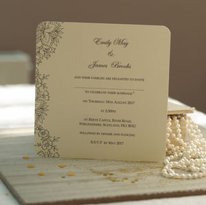 'Vintage Lace' Wedding Invitations - winter sale