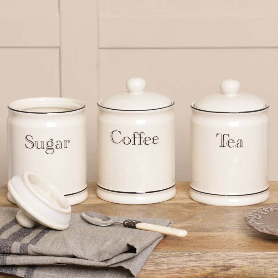 Retro cream tea coffee and sugar canisters by dibor - Coffee tea and sugar canisters ...