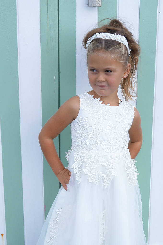 Naomi Cotton Lace White Flower Girl Dress By Lilly Bo