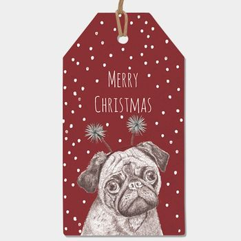 Pack Of Six Pug Gift Tags
