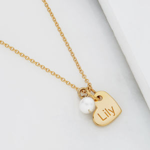 Personalised Heart And Pearl Necklace