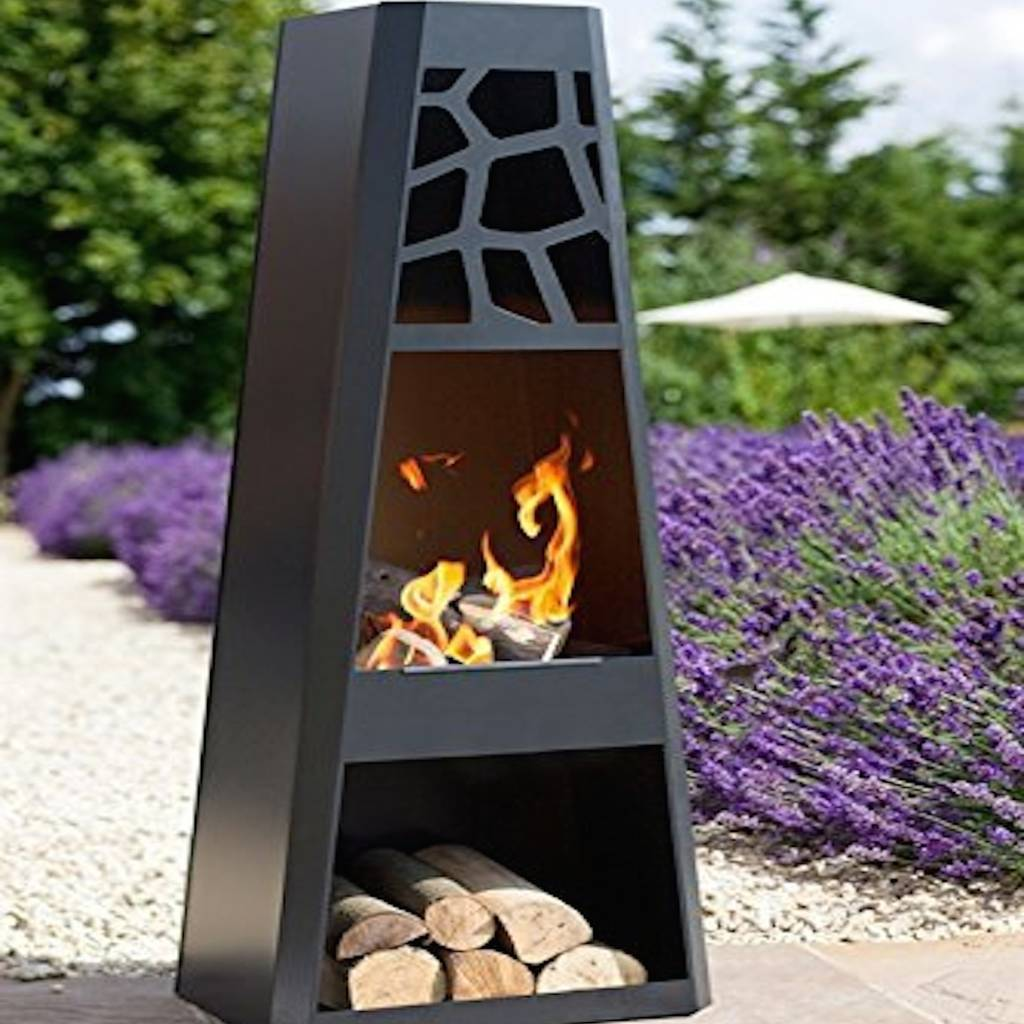 Modern Steel Chiminea With Wood Store