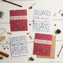 Pack Of Four Floral Seed Christmas Cards