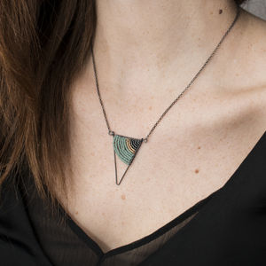 Geometric Oxidised Silver Triangle Necklace