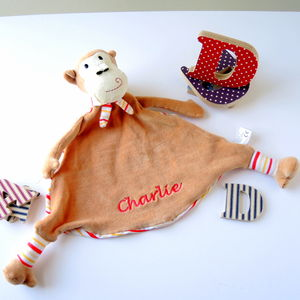Personalised Brown And Orange Monkey Soother - whatsnew