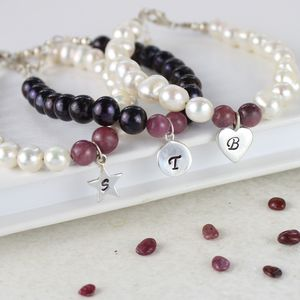 Personalised Pearl And Birthstone Bracelet - bracelets & bangles