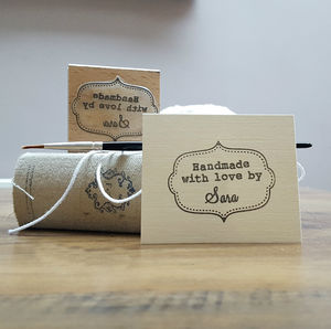 'Handmade By' Personalised Stamp - ribbon & wrap