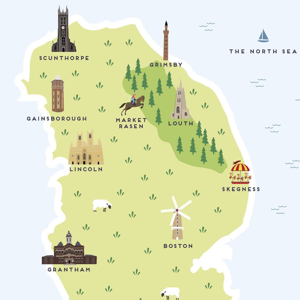 Map Of Lincolnshire map of lincolnshire print by pepper pot studios  Map Of Lincolnshire