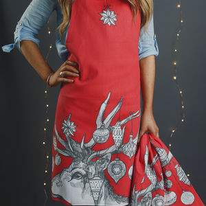 'Christmas Scandi Stag' Apron And Tea Towel Set - kitchen accessories