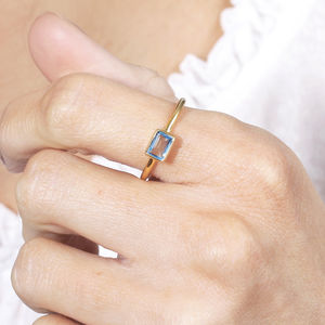 Blue Topaz 18ct Gold Vermeil Ring - style