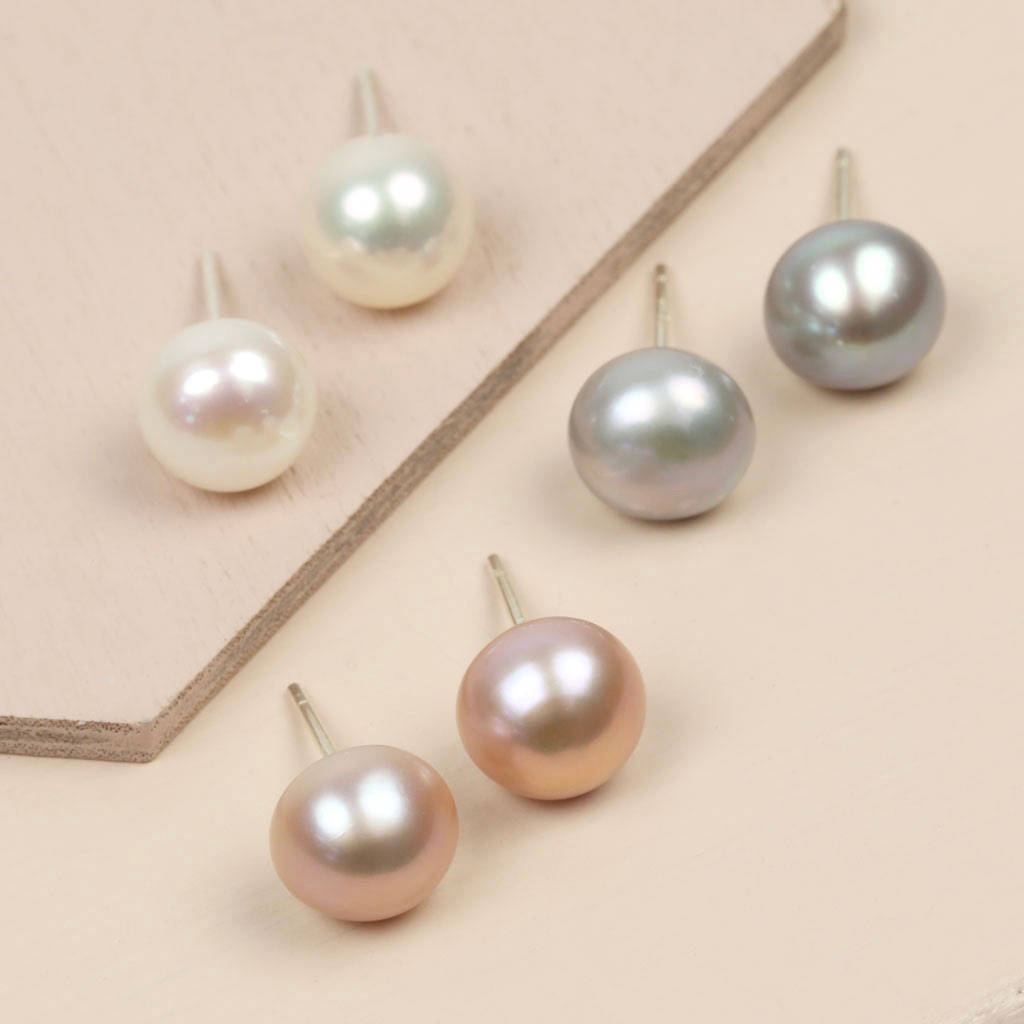 sterling ball pearl stud round silver itm pgd pearls stimulated packs earrings small