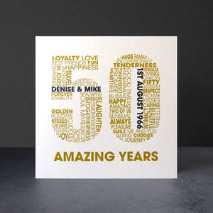Personalised Golden Wedding Anniversary Card - anniversary cards