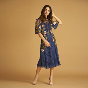 Beryl Embroidered Skater Dress - winter sale