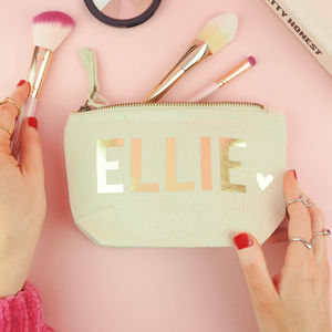 Personalised Name With Heart Make Up Bag