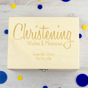 Personalised Christening Wishes Keepsake Box - storage & organisers