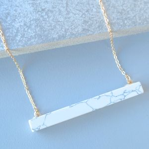 White Marble Bar Necklace - jewellery sale