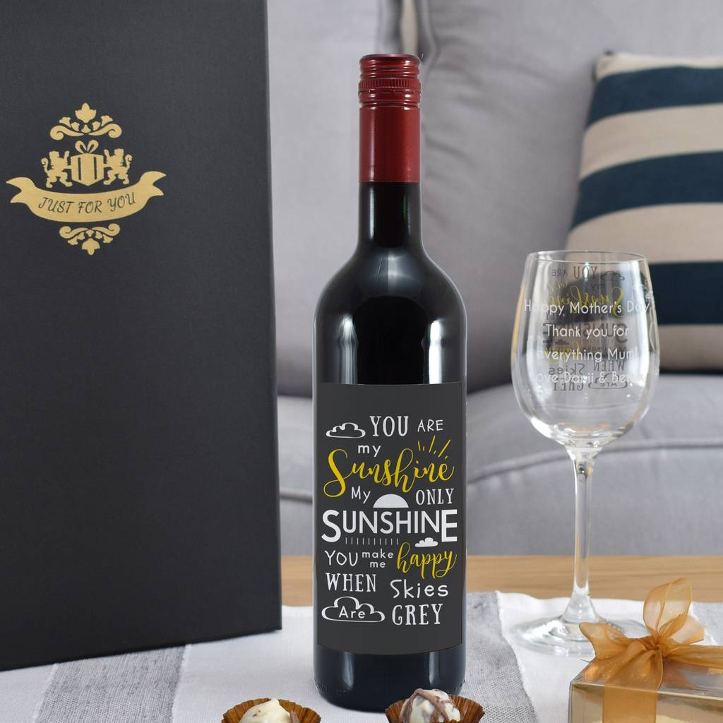 Sunshine Personalised Red Wine Gift Sets In Box
