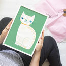 White Cat Children's Nursery Print
