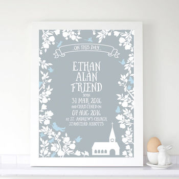 Personalised Boys Christening 'Midsummer' Print