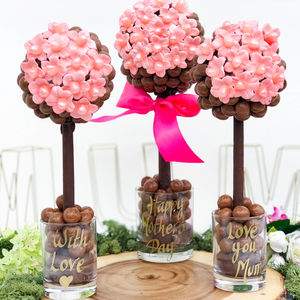 Personalised Chocolate Malteser Pink Daisy Tree