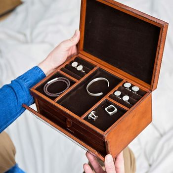 Personalised Leather Jewellery Box With Drawers