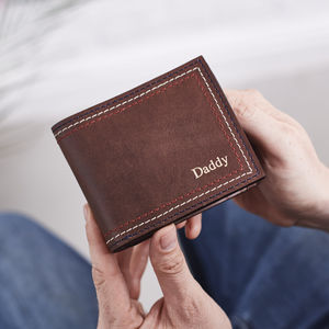 Personalised Leather Wallet With Triple Stitch
