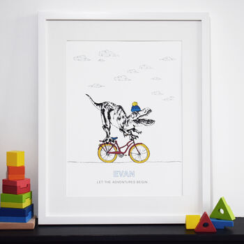 Personalised Dinosaur On A Bike Print