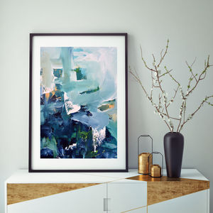 Blue Teal Wall Art Abstract Art Print
