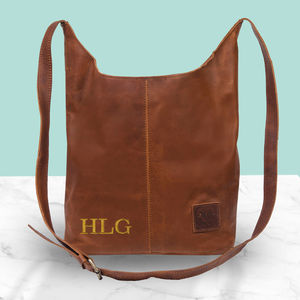 Personalised Leather Dixie Boho Tote