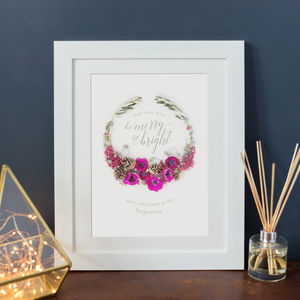 Personalised Floral Christmas Wreath Print