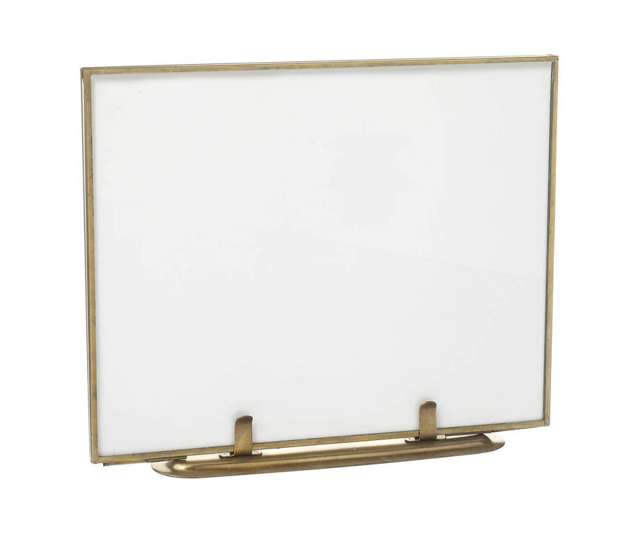 hinged brass standing glass frame by all things brighton