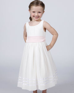 Flower Girl Dress With Coloured Silk Sash