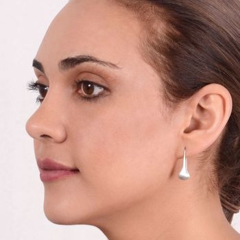 Sterling Silver Matt Teardrop Earrings